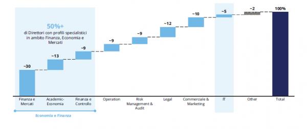 FIGURA 2 | Area di competenza dei membri del CdA delle aziende FSI Top 12 società, %, 2019